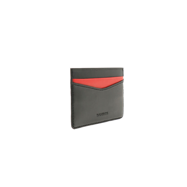 Patrick Card Holder - Napa Black With Red