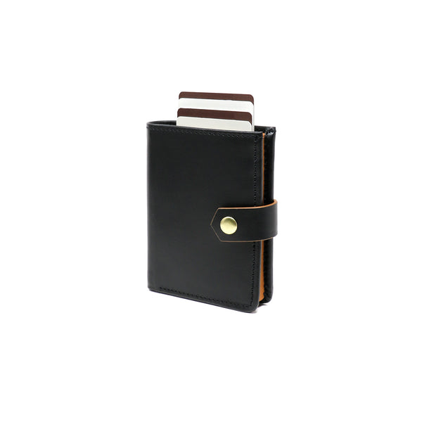 RFID Blocking Card Case Wallet with Snap Closure - Black Napa & Tan