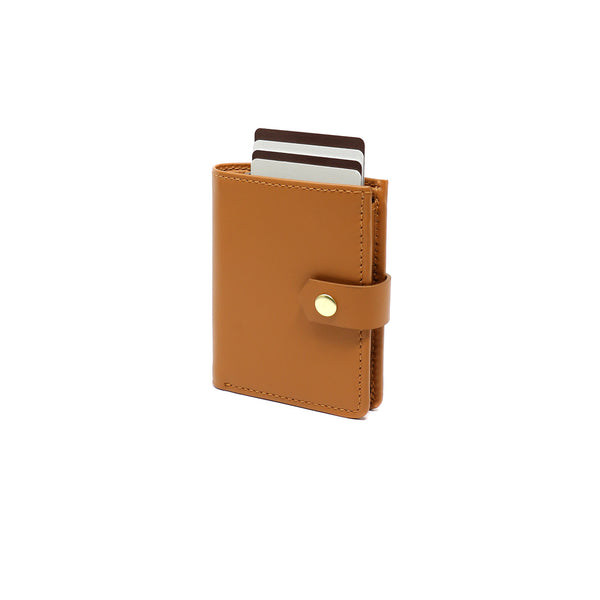 RFID Blocking Card Case Wallet with Snap Closure - Tan Napa