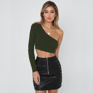 Virginia One Shoulder Crop Top - BonjourFit