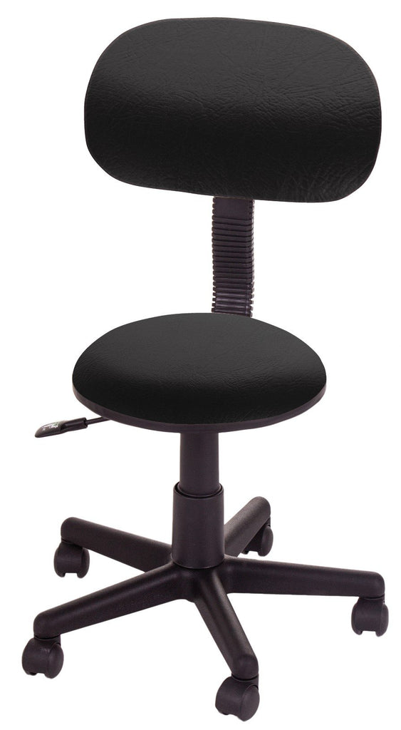 Gaslift Beauty Stool Black with backrest