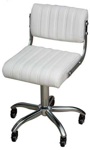 Gaslift Beauty Stool Square white with chrome & backrest