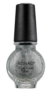 Stamping Top Coat Silver Glitter Konad