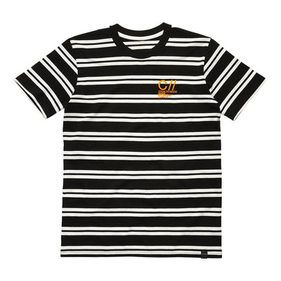 SM CODE STRIPED TEE BLACK WHITE Tee SM Stealth Mode