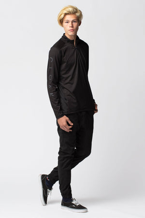 Black Pool Quarter Zip Long Sleeve