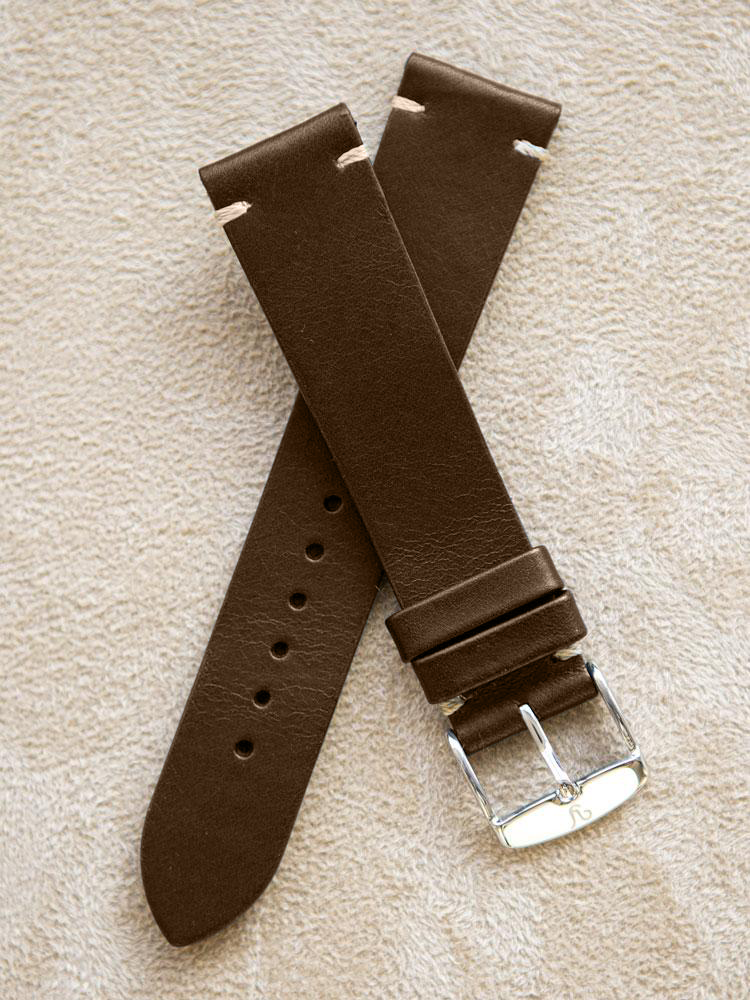 Brown Leather Vintage Watch Band 19mm