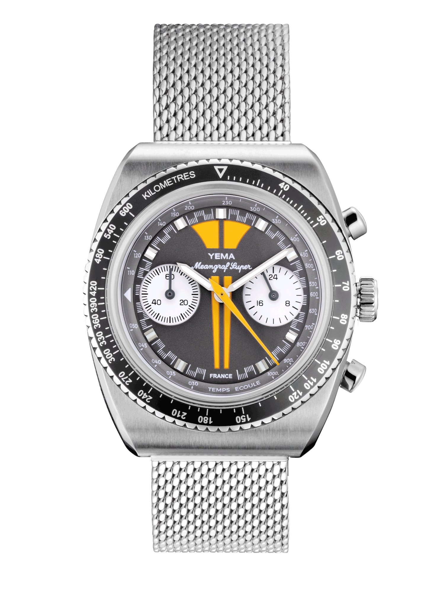 YEMA MEANGRAF SUPER Y70, yellow and grey dial, white chronograph sub-registers.