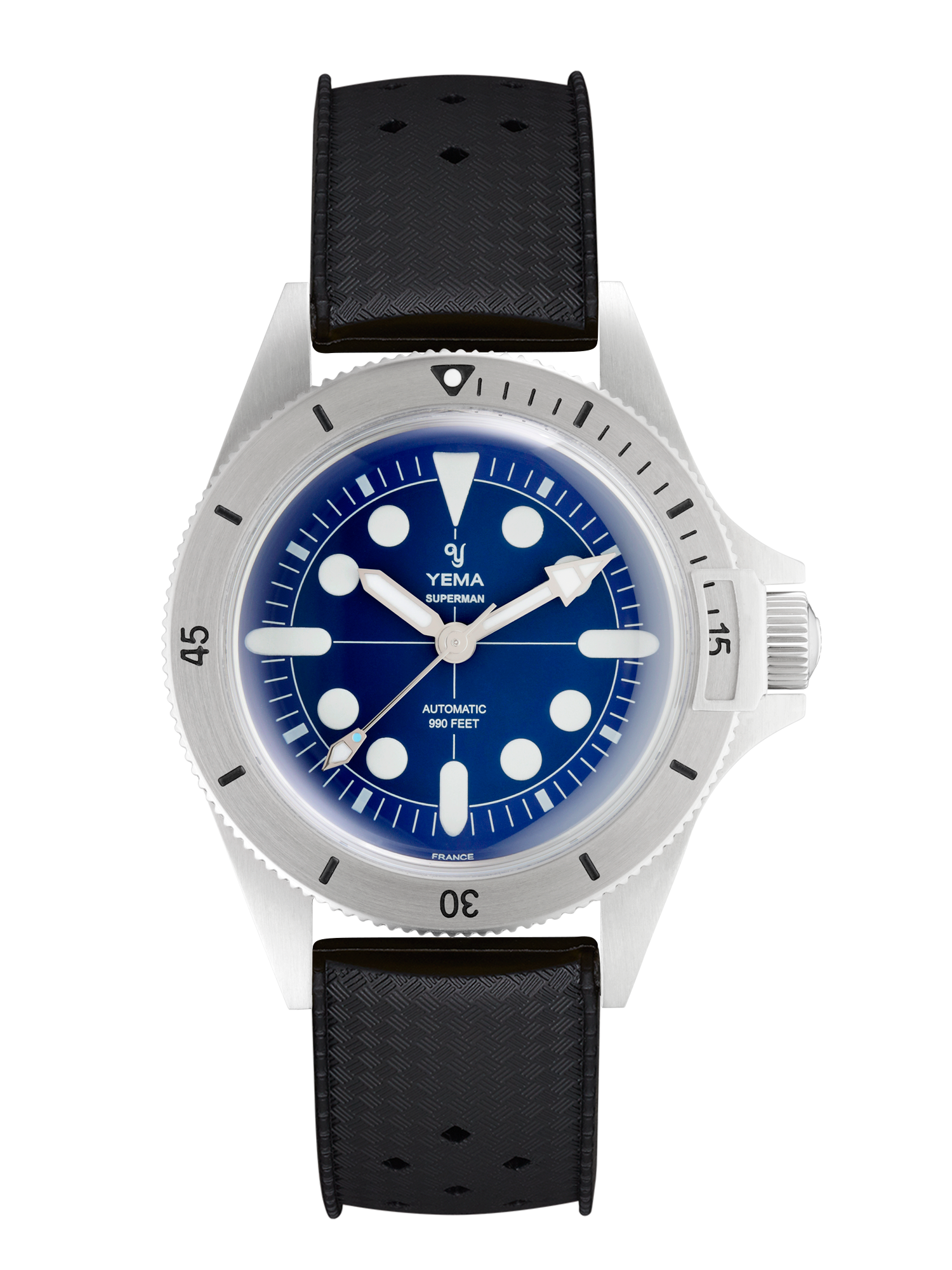 YEMA SUPERMAN MAXI DIAL BLUE, black diving strap