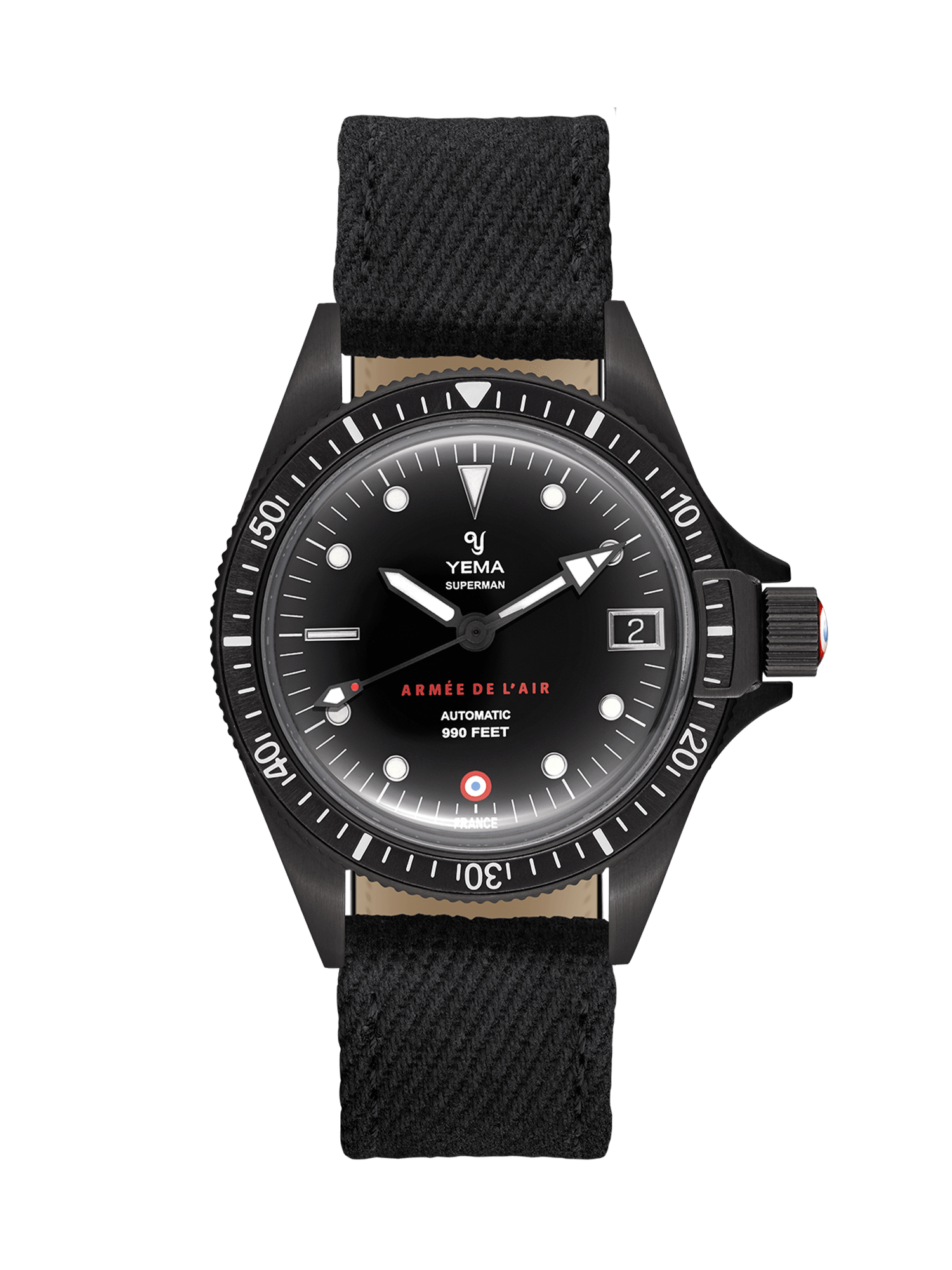 YEMA Superman French Air Force Black Limited Edition, Embossed markers, black canva watch strap.