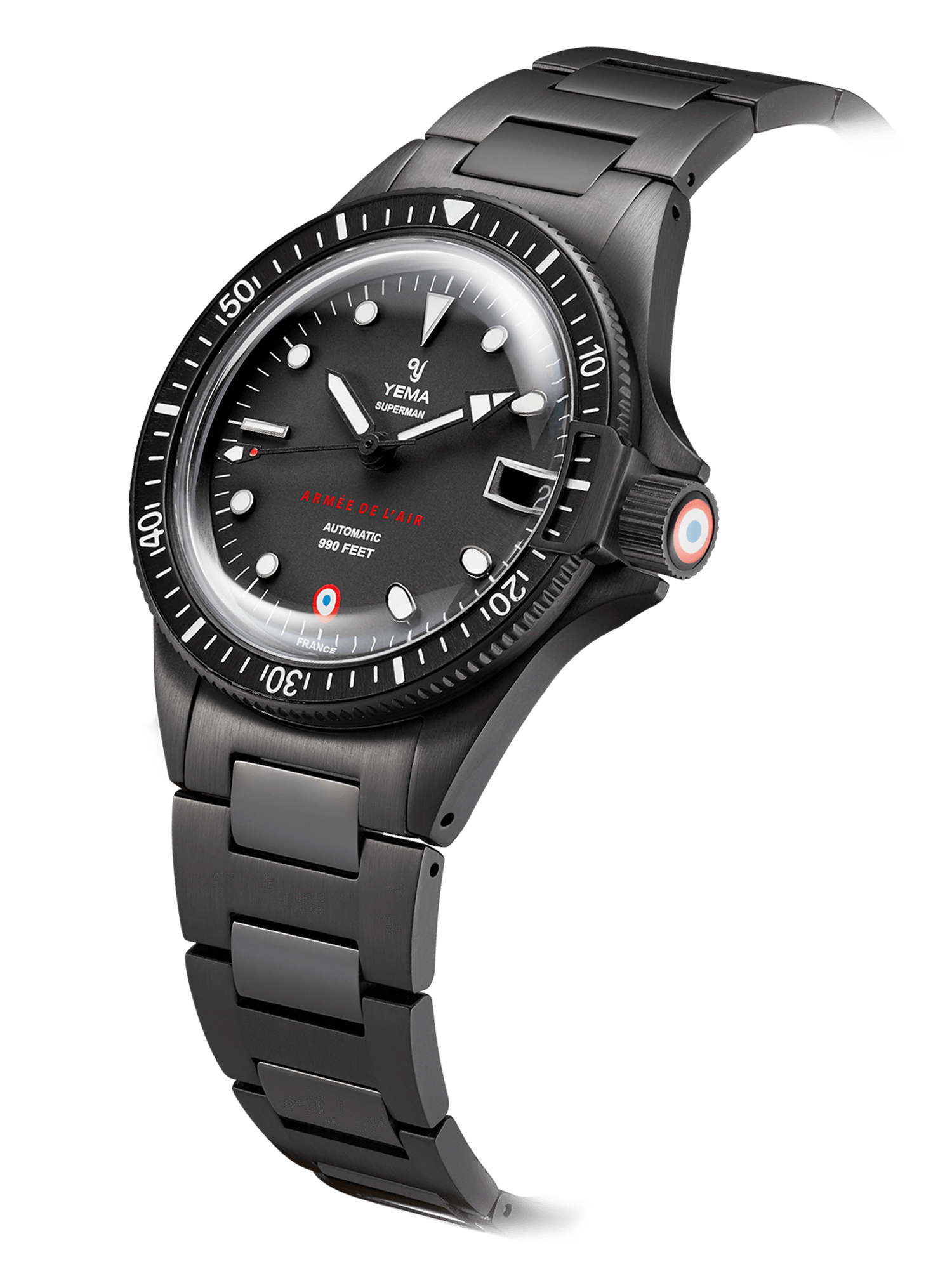 YEMA Superman French Air Force Black Limited Edition,Steel bezel with black aluminium insert.