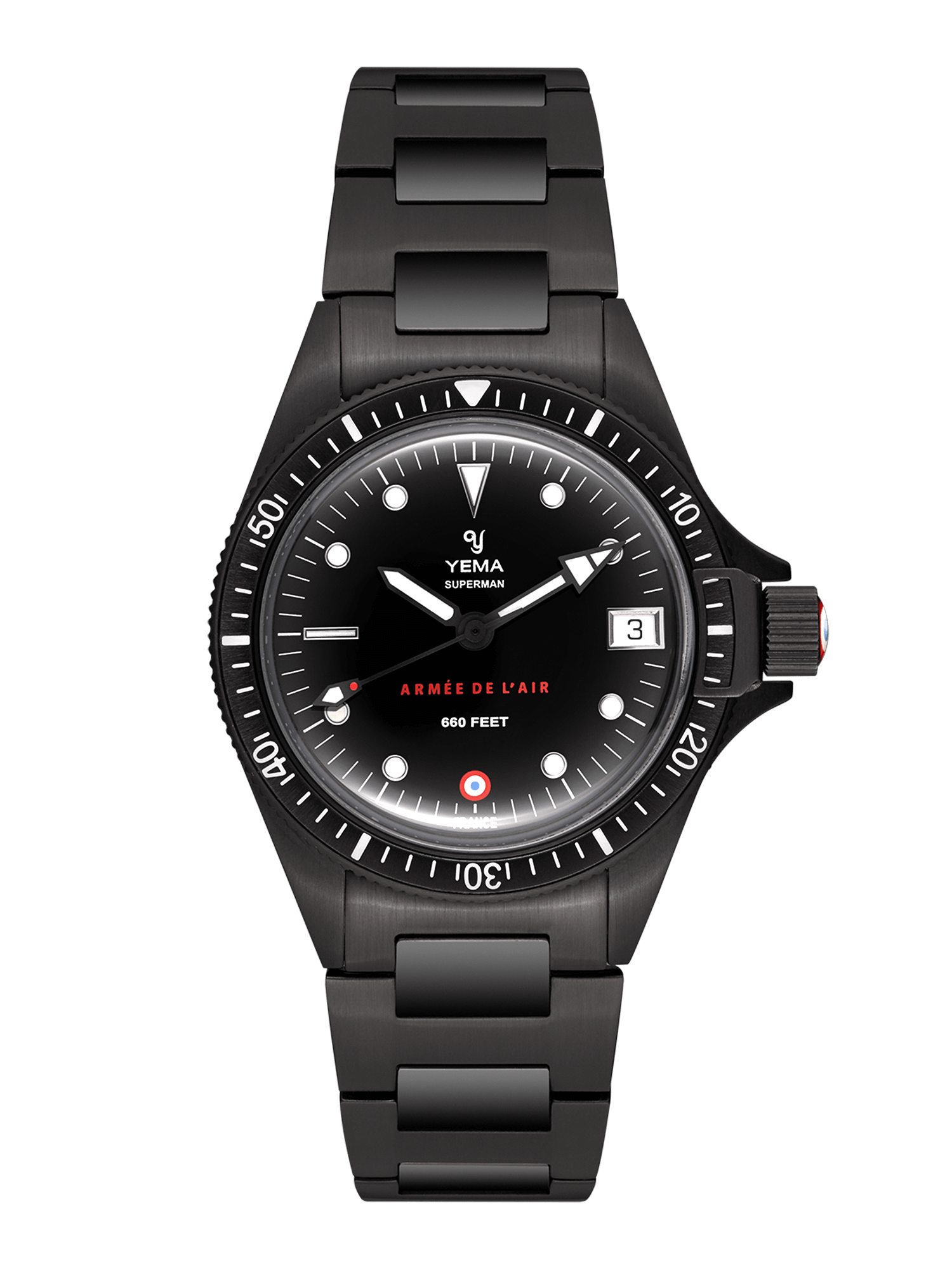 YEMA Superman French Air Force Black quartz, Matt black dial, stamped French Air Force dark red logo, Stamped French Air Force insignia at 6.