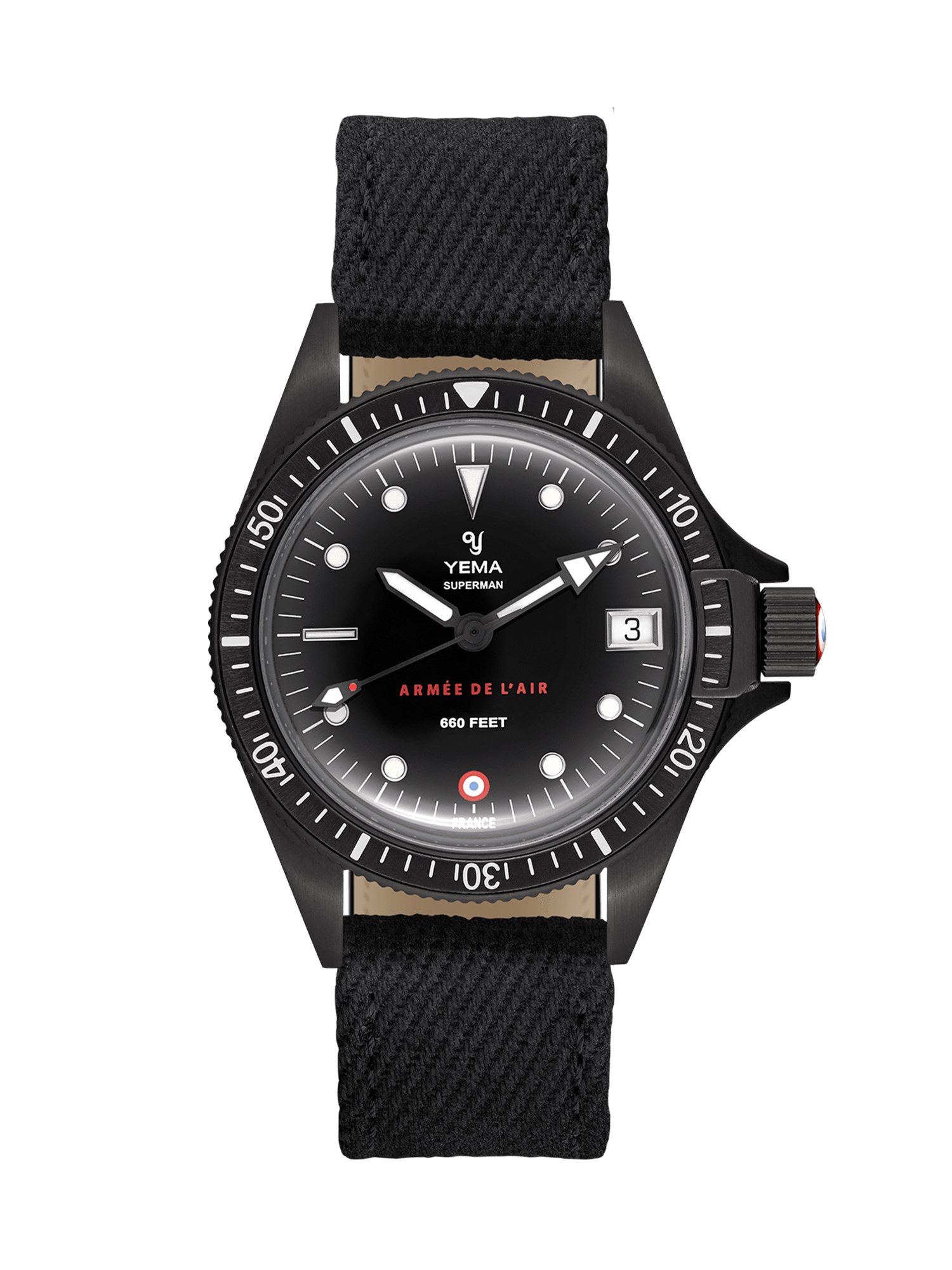 YEMA Superman French Air Force Black quartz, Embossed markers, black canva watch strap.