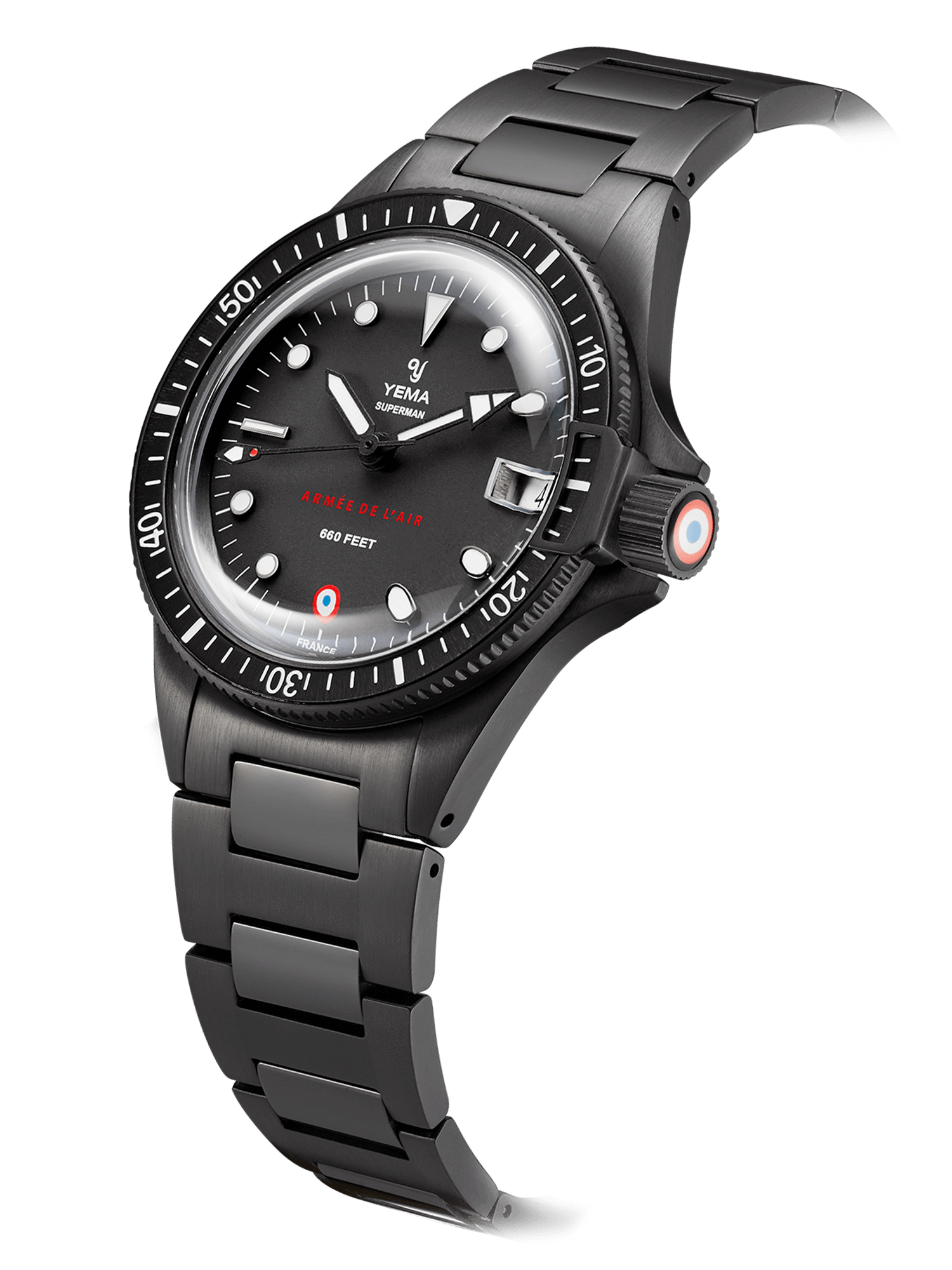 YEMA Superman French Air Force Black quartz, Steel bezel with black aluminium insert.