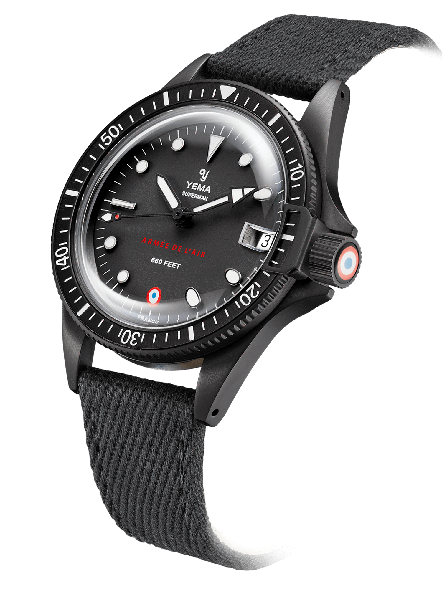 YEMA Superman French Air Force Black quartz, black PVD coated, Stamped French Air Force insignia.