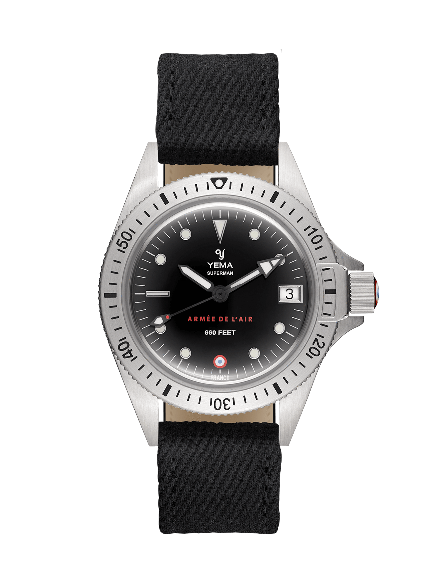 YEMA Superman French Air force steel quartz, Embossed markers , black canva watch strap.