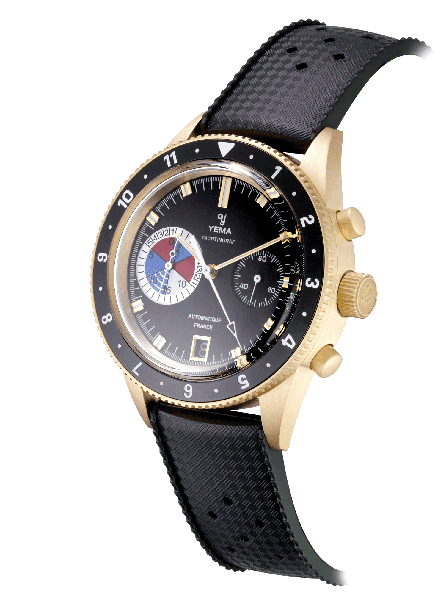 YEMA Yachtingraf Bronze Limited Edition, bronze case, black diving strap