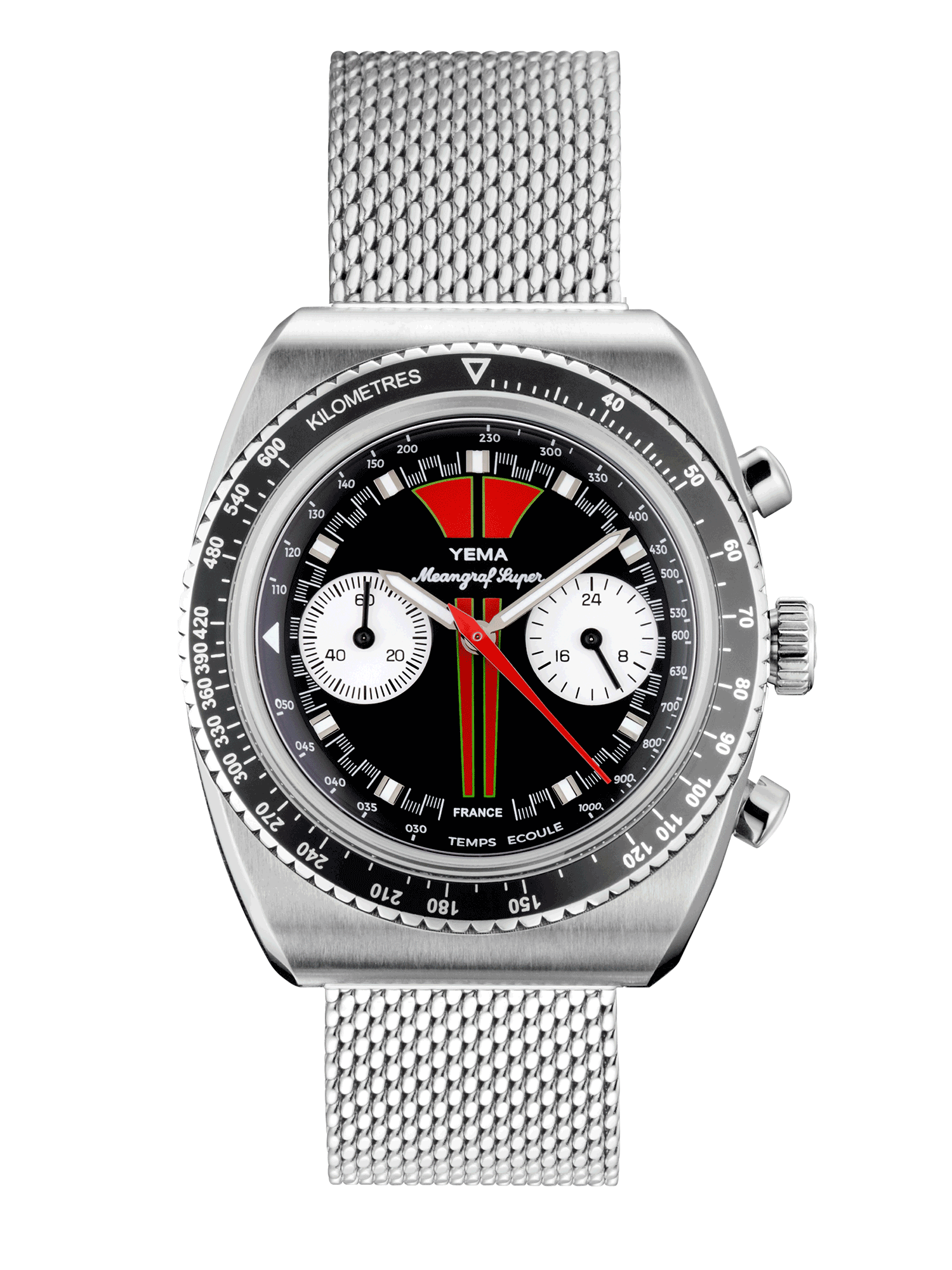 YEMA MEANGRAF SUPER R70, red & black dial, white sub-registers.