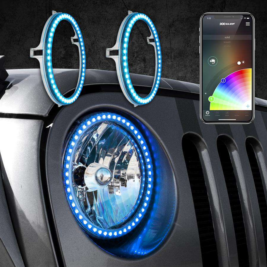 "2pc 7"" RGB LED External Jeep Halo Ring XKchrome Bluetooth App Controlled Kit w/ Turn Signal and DRL Function"