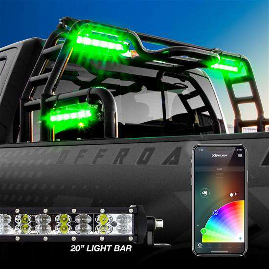 "20"" RGBW Light Bar: High Power Orrfoad Work/Hunting Light with Built-in XKChrome Bluetooth Controller"