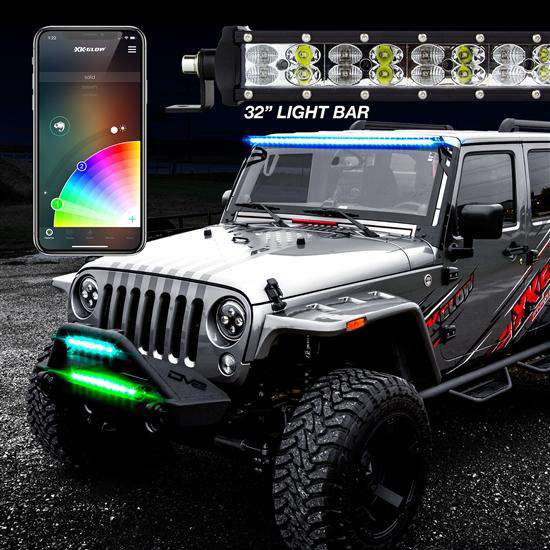 "32"" RGBW Light Bar High Power Offroad Work/Hunting Light with Built in XKchrome Bluetooth Controller"