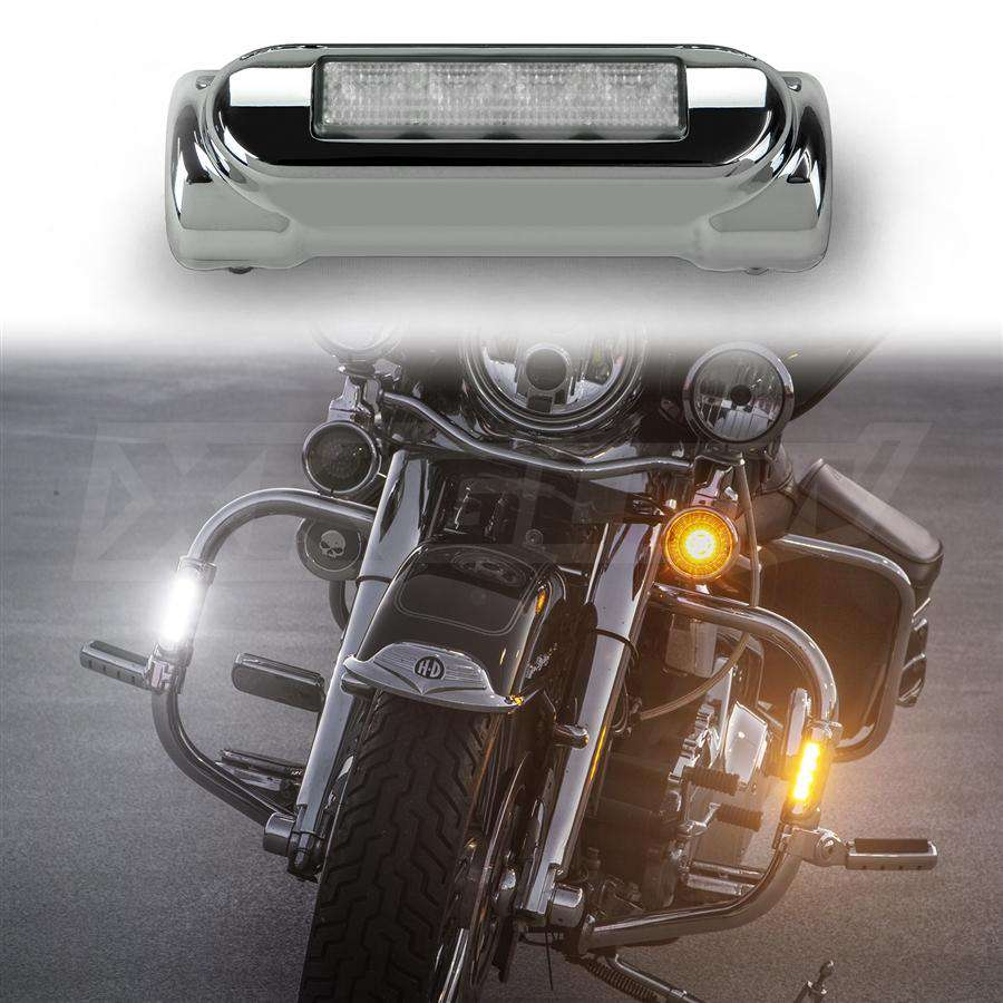 Motorcycle Highway Bar LED Driving Lights Turn Signals Chrome Set fits 1.25