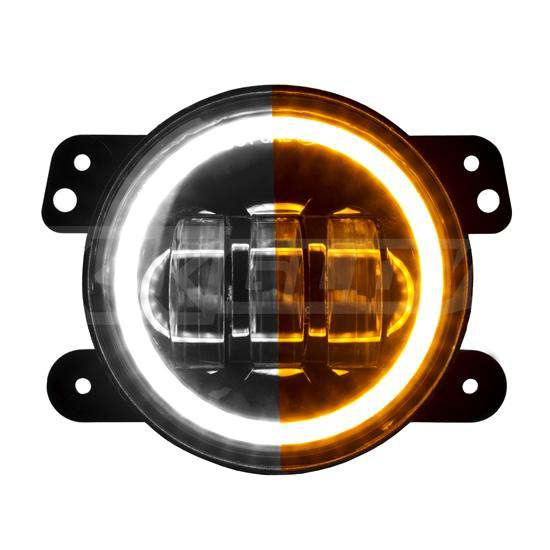 4in Jeep Wrangler JK LED Fog Light 2pc with Switchback Halo White DRL + Amber Turn Signal