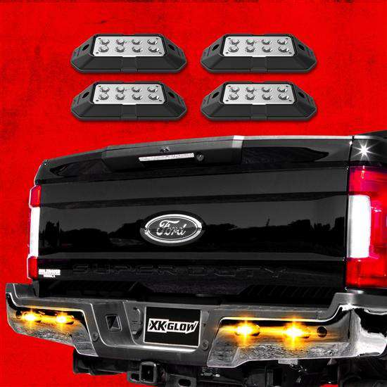 4pc Strobe Lights w/ Traffic Modes, Ultra Bright LEDs, Multiple Strobe Modes+Solid On