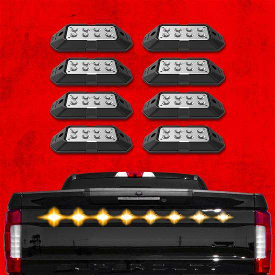 8pc Strobe Lights w/ Traffic Modes, Ultra Bright LEDs, Multiple Strobe Modes + Solid On