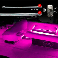 "4pc 36"" Strips+ 4pc 10"" Flex Strips Remote Control Boat Interior Accent Neon Light Kit"