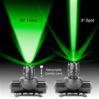 Green Hunting & Fishing Spot/Flood Retractable Lens CREE LED Headlamp