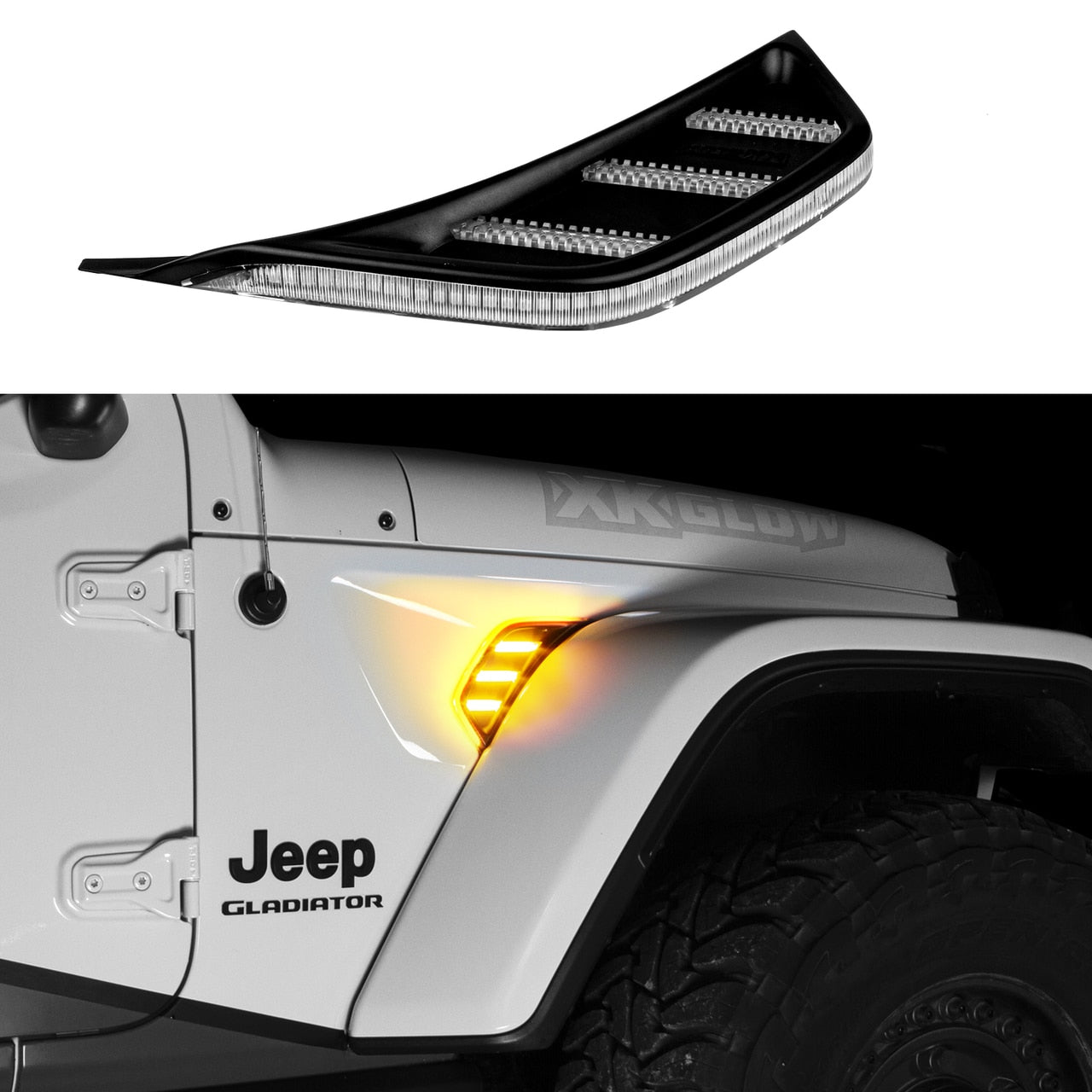 Amber Jeep JL & JT Fender Vent Turn Signal & Running Light