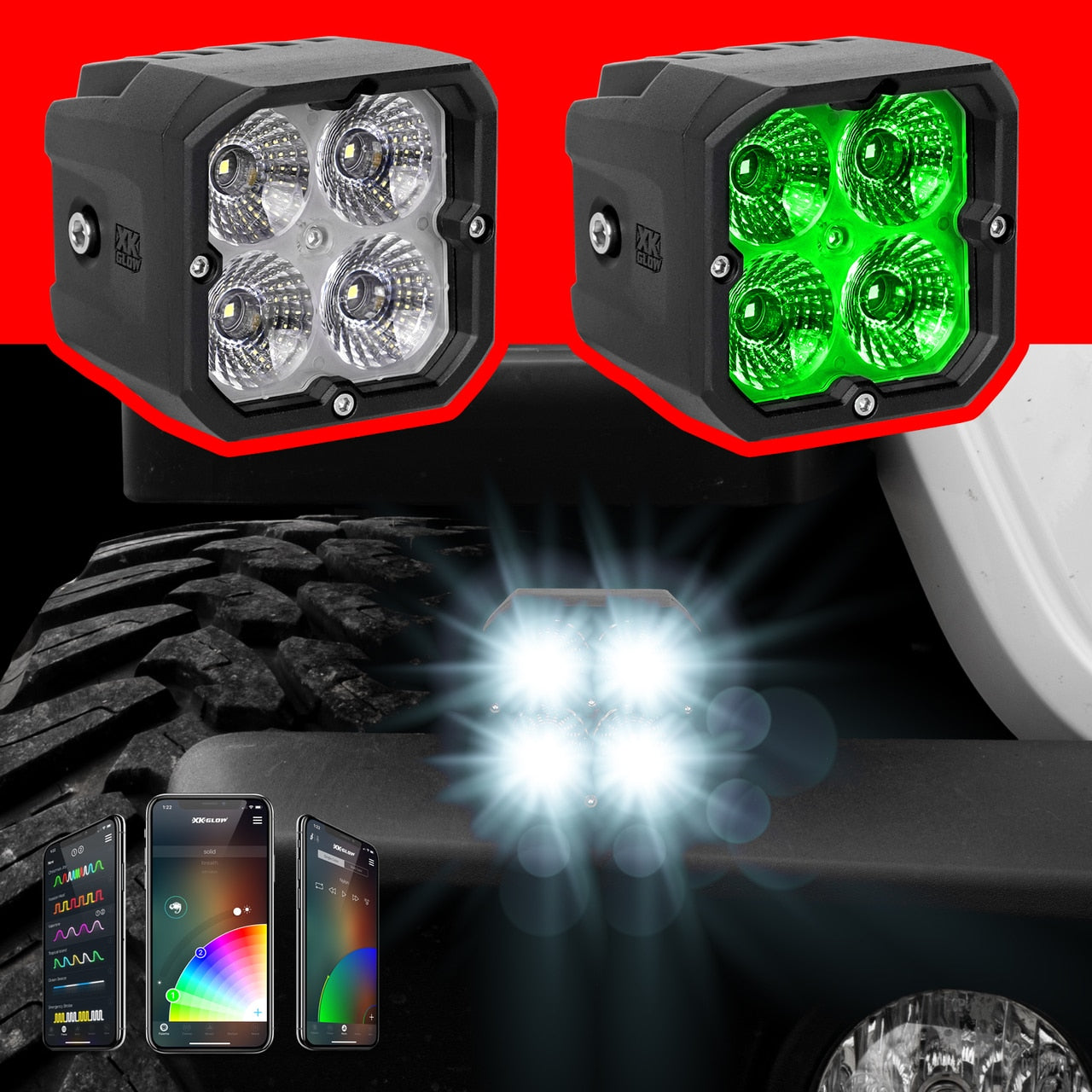 *PRE-ORDER* 2 Piece C3 SAE Cube Light Kit with XKChrome Smartphone App