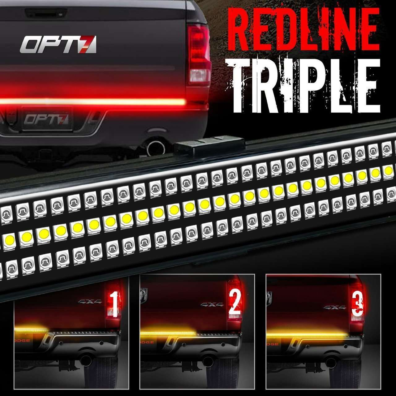REDLINE TRIPLE LED TAILGATE BRAKE LIGHT BAR WITH REVERSE & SEQUENTIAL TURN SIGNALS