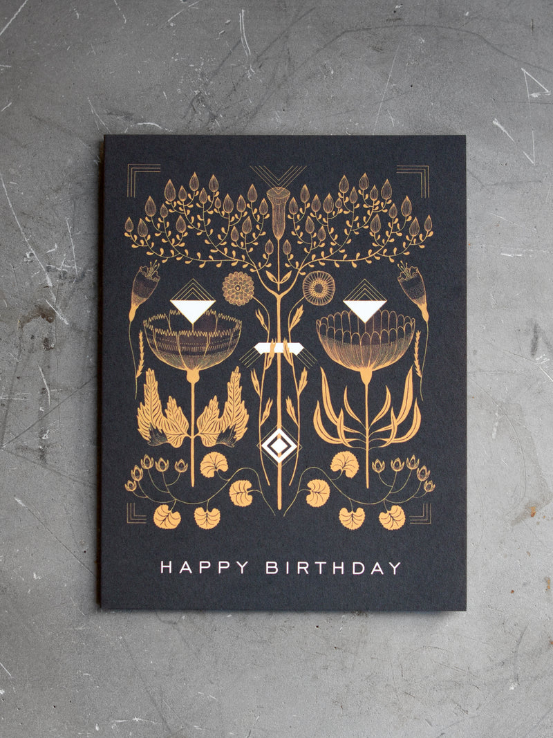 BLACK AMBER BIRTHDAY CARD