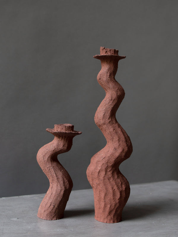 Terracotta Single Tall Candlestick