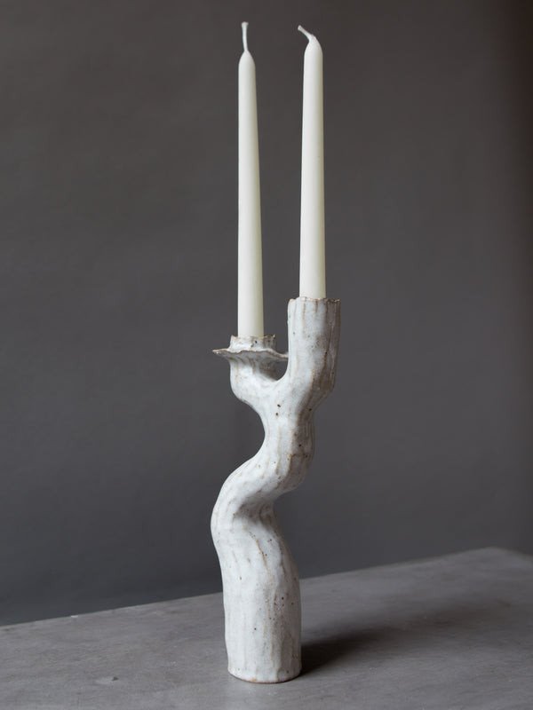 Tall White Lumena Double Candlestick