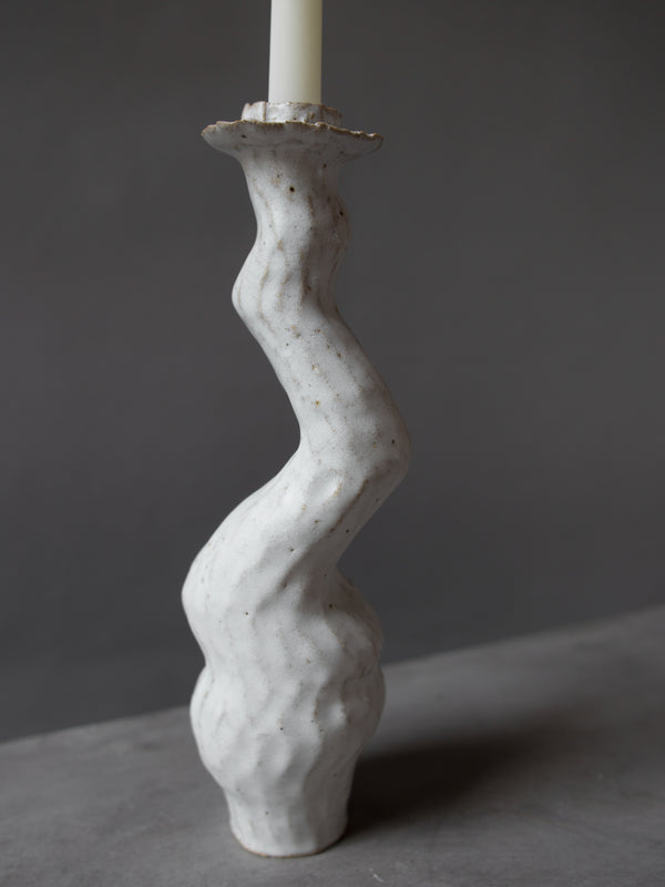 White Single Tall Lumena Candlestick