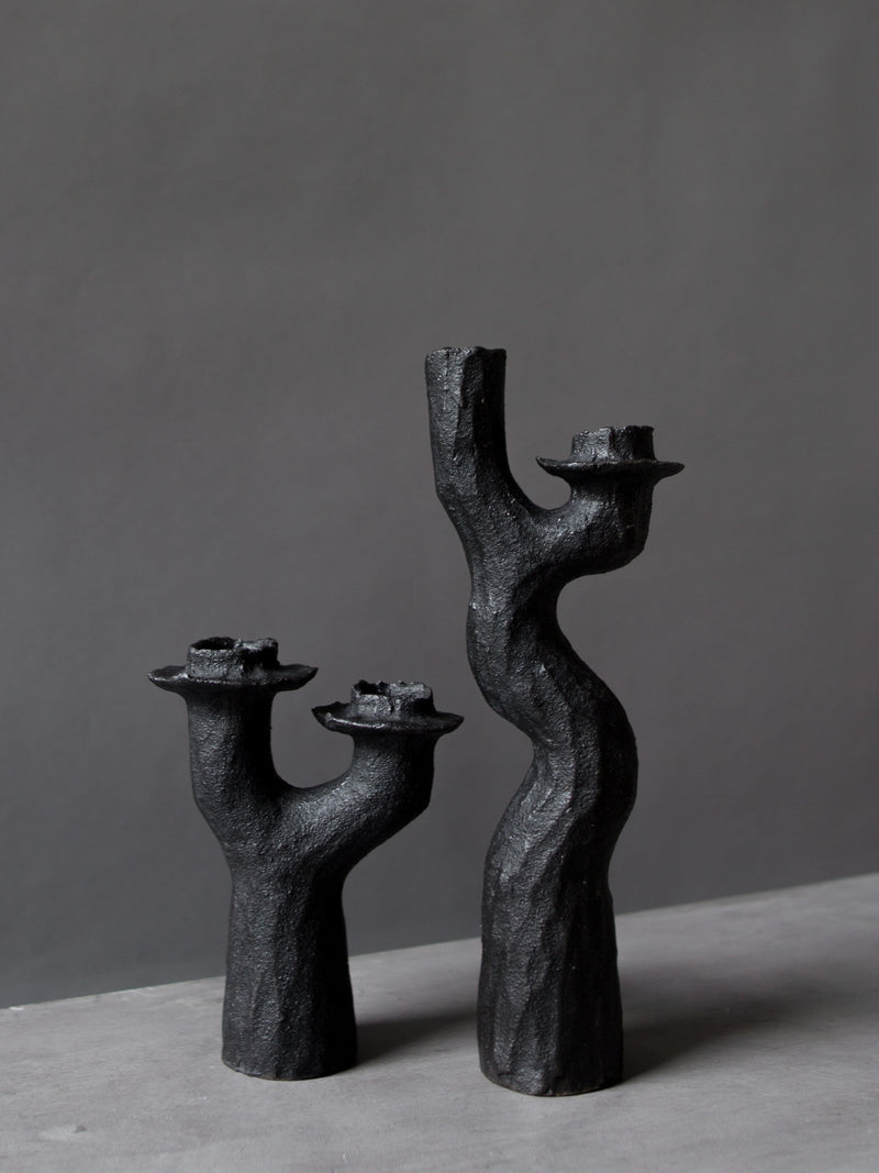 Tall Black Lumena Double Candlestick