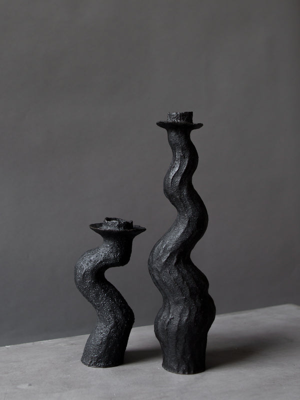 Black Single Tall Lumena Candlestick