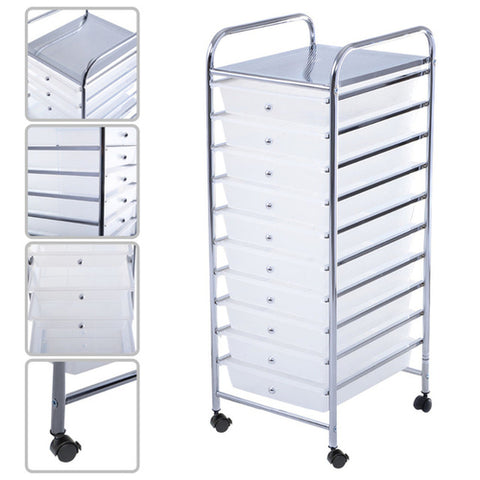 10 Drawer Rolling Storage Cart