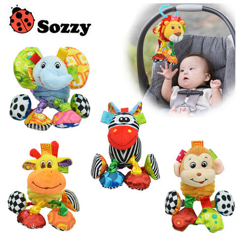 Animal Plush Toy Rattle for Mobiles, Carriers or Strollers