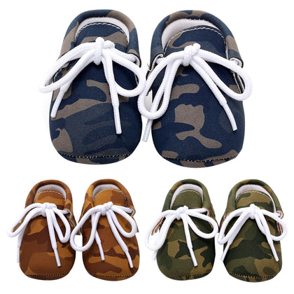 Anti Slip Soft Sole Lace-up Camouflage Leather Shoes 0-24 Mos