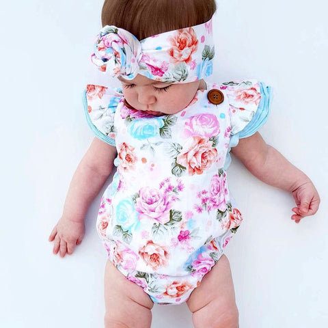 Vintage Floral Sleeveless Romper & Matching Headband Set 0-24 mos