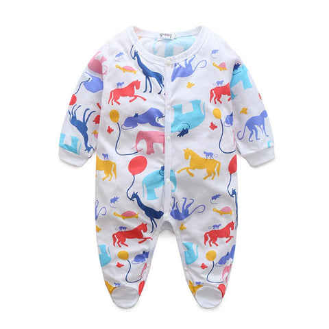 Long Sleeve Romper/Pajamas Cartoon Printed 0-18 mos