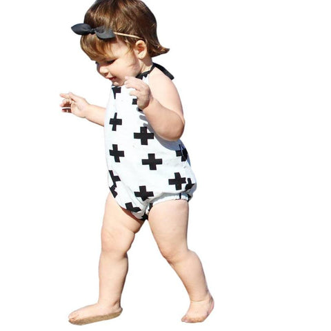 Sleeveless Printed Romper with Halter straps 6-24 mos