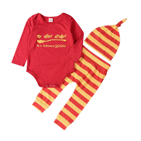 Long Sleeve Romper & Long Striped Pants & Hat Set 0-18 mos