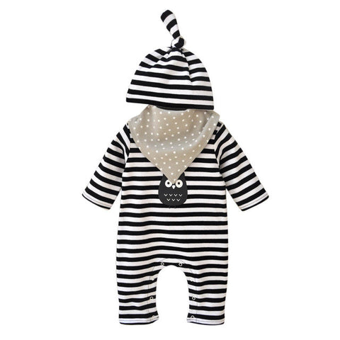 Striped Romper & matching hat & Saliva Towel Set Sizes 0-9 Mos