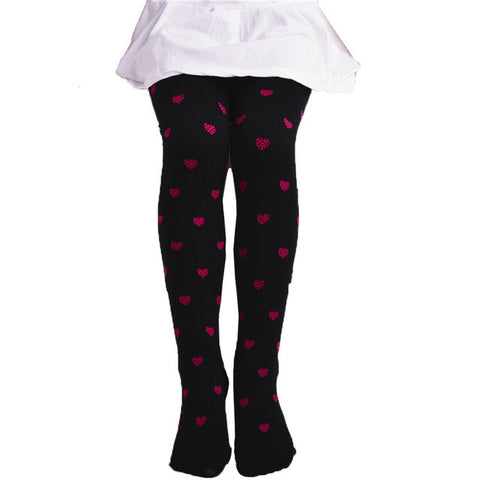 Cotton Footed Heart Dots Tights Candy Colors