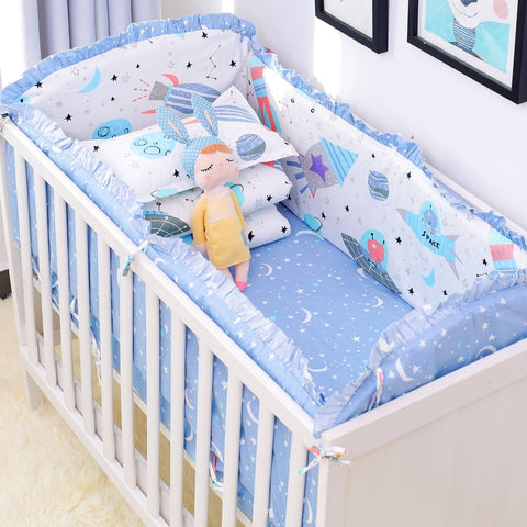 6pcs/set Blue Universe Design, Cotton Crib Bedding Set, Bed Linens Include Baby Cot Bumpers Bed Sheet Pillowcase