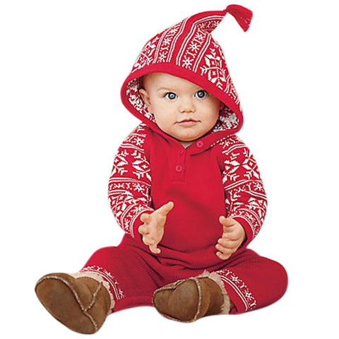 Christmas Long Sleeve Romper with Red Snowflake Printed Hood 0-18 mos